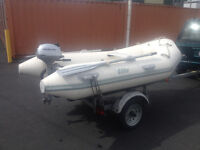 9ft Elite Aluminum RIB Inflatable with motor and trailer