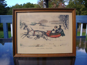 "Antique Print Lithograph Currie and Ives "" The Road Winter"" 1940"