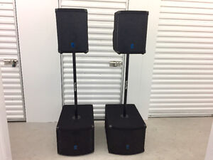 Compact powered Yorkville PA speakers