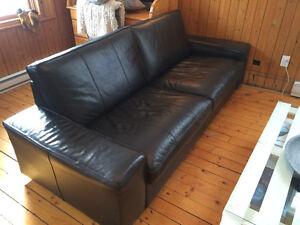 Divan Kivik en cuir noir (IKEA)
