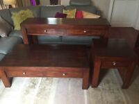 Matching Solid Wood Coffee, Lamp & Console tables trio