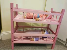 Bunk beds w/twin dolls plus newborn doll