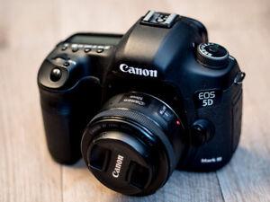 Canon 5D Mark III + 50mm f/1.8 STM lens + 3x 64 Gb card