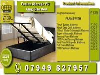 New SINGLE , DOUBLE , SMALL DOUBLE , KINGSIZE LEATHER STORAGE Bed WITH Mattress
