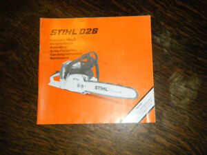 Stihl 026, 032 AV Chain Saw Instruction / Owners Manuals