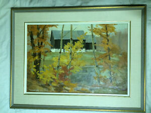 "Tom Roberts original 27x35 inch ""Barn by the duck pond"""