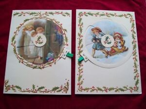 PAIR VINTAGE ANTIQUE VICTORIAN REPRODUCTION CHRISTMAS CARDS