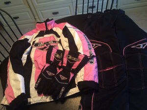 Women's Pink, White & Black FXR Snow Suit