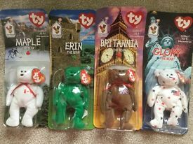 4 ty beanie baby bears mcdonalds collection maple erin glory britannia original