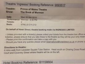 1 x Book of Mormon ticket for Wed 28th March at 1430hrs. Great seat! £50.