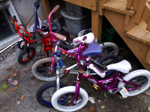 Assorted boys and girls kids bikes