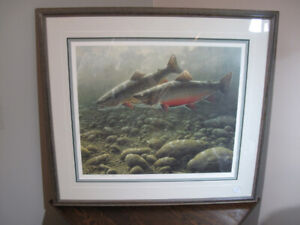 Brook trout fish pair signed limited edition print Michael Dumas