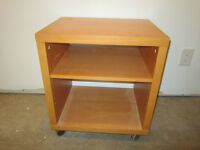 Homemade end tables on casters c/w shelf