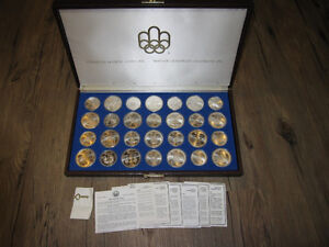 1976 Montreal Olympics - Full 28 Coin Silver Set w COAs and Key