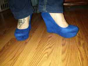 Royal Blue Wedge Heels Windsor Region Ontario image 1