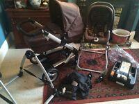 Mamas & Papas Skate Travel System / pram / car seat / moses basket