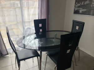 Glass table set + chairs