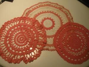 THREE LOVELY OLD HAND CROCHETED PARLOR DOILIES