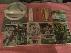 Nintendo wii console + Adapteur + 6 jeux