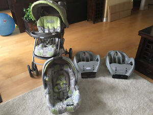 Baby Travel System with two car adapters