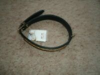 NEW AVON LEATHER DOG COLLAR& 2 LEADS GOLD/BLK
