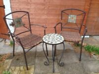 Round garden table and 2 chairs
