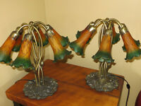 Pair of Rare Tiffany Style Lily Pad Lamps