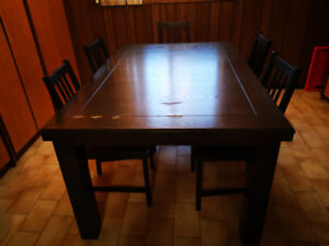 Leon's hard wood dining table and Ikea chairs