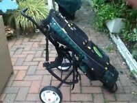 Full set of masters left handed irons bag and trolly