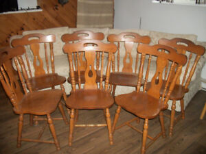 7 Solid Oak Wooden Chairs