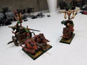 warhammer ork chariot, and warboss on boar painted