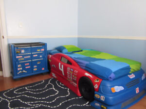 Twin race car bed with tool chest set