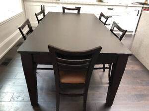 Custom-Made  Solid Maple Espresso Dining Table seats up to 8