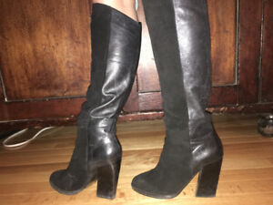 Black suede and leather boots