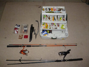 2 Fishing rods, plano tackle box full of lures