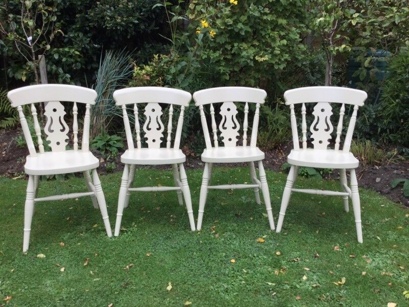 4 painted Fiddleback Chairs