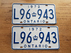 1972 ontario Licence plates Pair MTO registerable