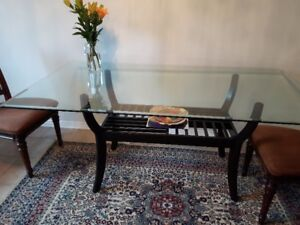 Grade A Thick Tempered Glass Dining Table with Teakwood Chairs