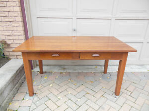 LARGE SOLID OAK DESK  TYPE TABLE WITH DRAWERS