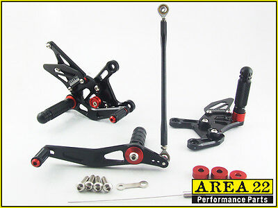 2009 2014 <em>YAMAHA</em> YZF R1 AREA 22 CNC ADJUSTABLE REAR SETS BLACK REARSET