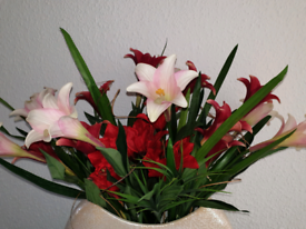 Pink and red artificial lillies