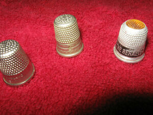 THREE OLD and INTERESTING METAL COLLECTIBLE THIMBLES