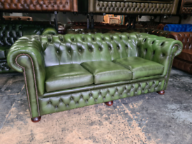 Antique Green Chesterfield 3 Seater Sofa