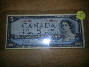 1954 5$ bill in good condition for its age only 19$............. London Ontario image 1