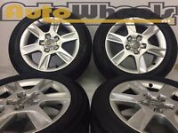 """4 used 16"""" genuine audi a3 alloy wheels & tyres a4 vw jetta golf seat leon"""