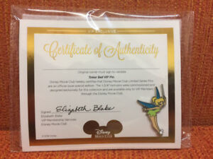 Disney Tinker Bell VIP Pin With Certificate Of Authenticity