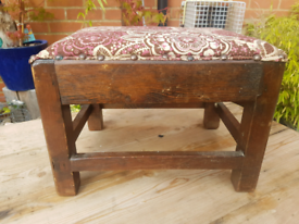 Vintage Retro footstool step great Upcycling reupholstery project