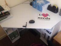 White brushed wood corner desk from Ikea