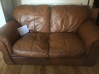 2 x real leather two seater sofa's