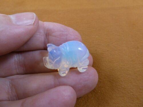 (Y-PIG-516) WHITE OPALITE baby piglet PIG Piggy gemstone FIGURINE carving pigs